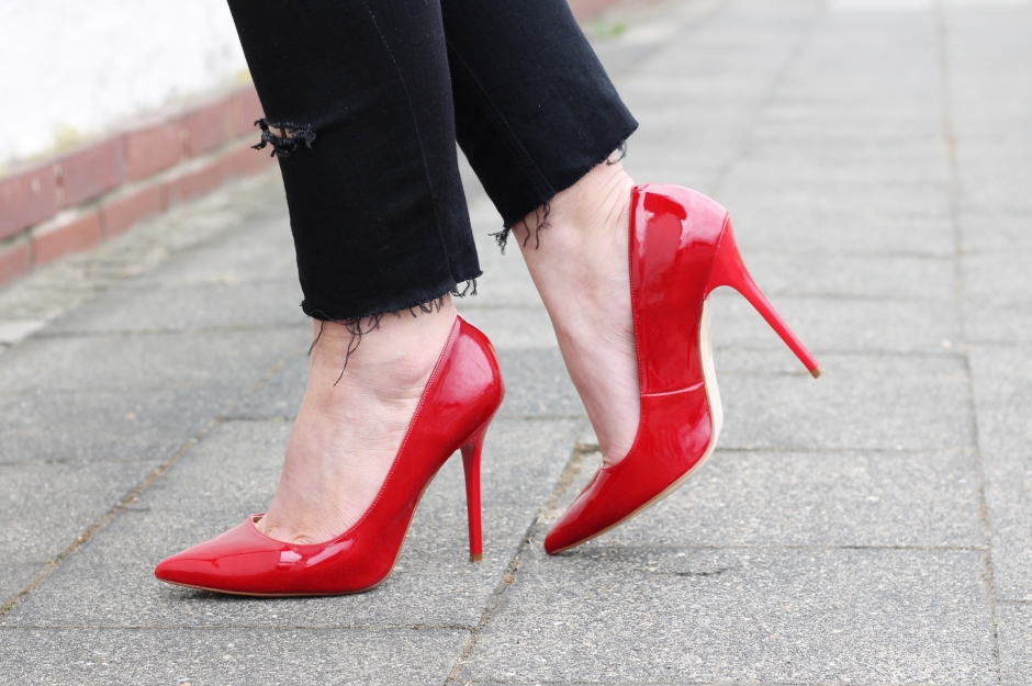 Rote High Heels Office Shoe