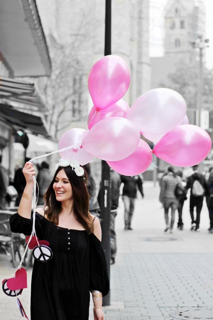 Luftballons schwarz weiß